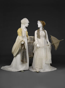 Two muslin dresses from around 1800